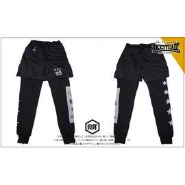 ROCK STEADY R.S.C 運動 棉質 棉褲 長褲 重磅 3M反光 洞洞 假兩件式 束口 五星 99 黑