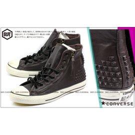 Converse ALL STAR John Varvatos 咖啡 質感 皮革 鉚釘 仿舊 高筒 果凍底 雙拉鍊 男鞋