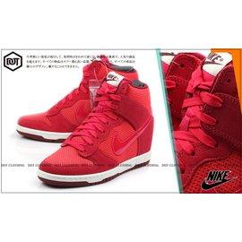 NIKE WMNS DUNK SKY HI QS 紅色 麂皮 果凍 透明勾 洞洞 楔型鞋 內增高 644877-600