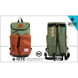 保證正品 2013 RITE 雙袋旅行包 後背包 側背包 皮標 咖啡皮革 帆布 墨綠 基本