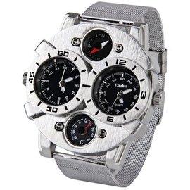 Oulm欧镭 魅力男士钢带手表几何设计精密军表户外指南针登山表男