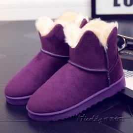 優樂購~雪地靴女短筒 棉靴平底加絨保暖女鞋短靴可愛雪地棉鞋靴子花朵