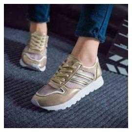 2 2015 網紗 鞋透氣內增高 鞋 百搭單鞋網布跑步女鞋舒適松糕跟厚底鞋 金色 39碼-