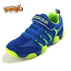 春 鞋男女童鞋中大童跑步鞋旅遊鞋 鞋反絨牛皮鞋男童登山鞋 藍色 38碼 23.5