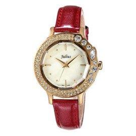 聚利時 潮流復古防水女表石英手皮帶女士手表~631 紅色
