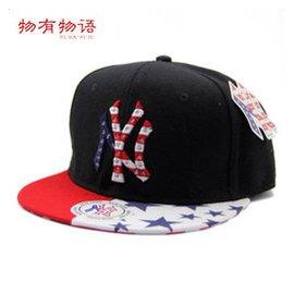 物有物語 拼色字母五星嘻哈街舞平檐潮男女兒童棒球帽子 紅白沿藍星