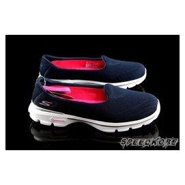 送束裤SKECHERS 健走鞋 GO WALK 3 深蓝 编织 懒人鞋 瑜珈鞋垫 女 # 13983NVY
