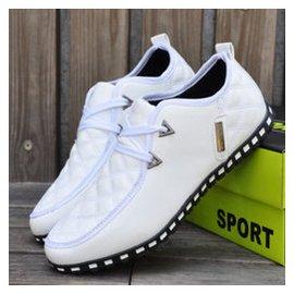 2014 男鞋子豆豆低幫透氣 潮流 鞋英倫駕車帆船鞋青年鞋子 0123 白色 43 偏小一