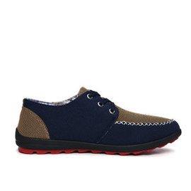 杉朵 男潮 鞋男士 鞋透氣帆布鞋 車縫線低幫拼色 布鞋 808 低幫鞋子男 深藍色 41碼