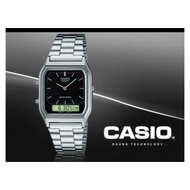 CASIO 復古方形電子錶 雙顯錶 AQ~230A~1D 防水 AQ~230A