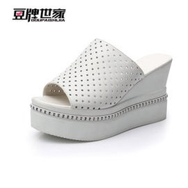 豆牌世家 2015  簡約涼鞋防滑一字拖鞋高跟涼拖鞋松糕坡跟女鞋沙灘潮鞋 白色 36
