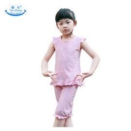 碳長 兒童 女童家居睡衣公主繫列套裝睡衣寶寶全棉條紋家居服空調服 粉紅白色條紋 110 6