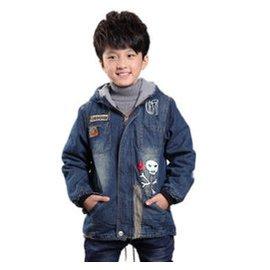 牛仔棉衣 2015 男童牛仔外套中大童男孩寶寶牛仔夾克上衣 加厚保暖外套牛仔衣 藍色 11