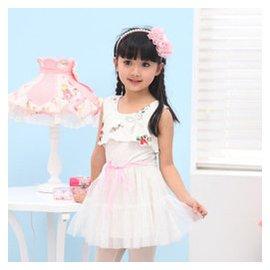 女童連衣裙2015 夏裝短袖兩件套連衣裙 潮夏款女童裙子 白色 150