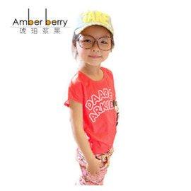 琥珀漿果女童夏裝 女童恤短袖外套 恤夏裝兒童恤純棉 紅色 ^(身高110穿^)