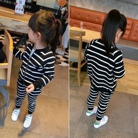 炫彩腳丫店女童套裝秋裝 兒童寶寶春秋 潮條紋拉鏈開衫外套兩件套