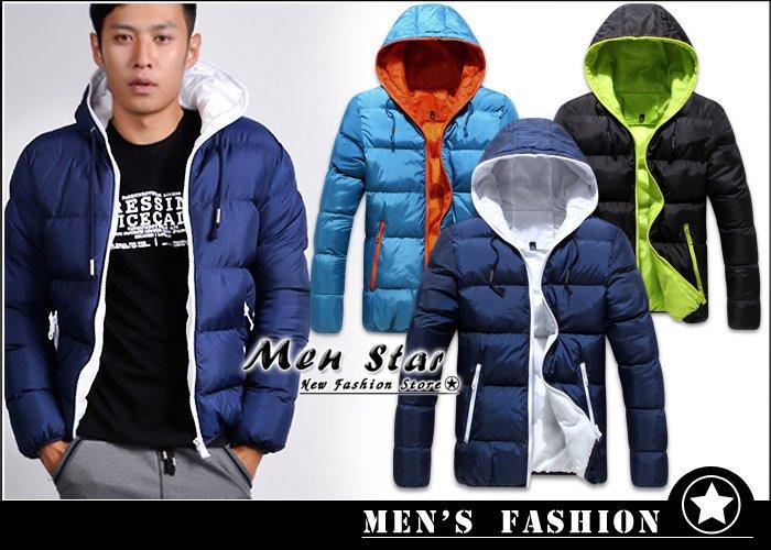 【Men Star】免運費 韓版拚色系鋪棉外套 情侶外套 情侶裝 毛衣 男 女 媲美 reebok uniqlo a&f01