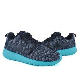 NIKE WMNS ROSHERUN KJCRD CAMO 虎紋迷彩針織帆布慢跑鞋 黑 藍