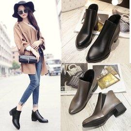靴子加棉學生女鞋鬆緊套筒馬丁靴英倫風粗跟短靴尖頭皮鞋