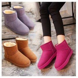 小熊日系~ 款雪靴女鞋可愛 學生保暖棉鞋短筒加絨厚潮靴子平底防滑共4色