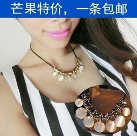 韓國 鎖骨鏈 優雅大方貓眼石切面金屬圓片皮繩短項鏈x053