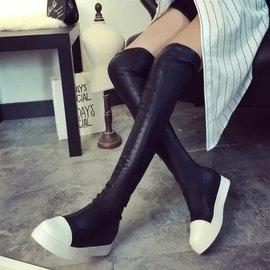 彈力靴唐嫣同款長筒靴平底過膝靴厚底 黑白拼接女鞋長靴子