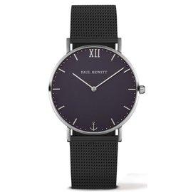 PAUL HEWITT Sailor Line 腕錶 銀框x藍面 黑米蘭錶帶