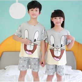 兒童睡衣短袖薄款大小孩男孩 女童卡通寶寶可愛棉質套裝家居服