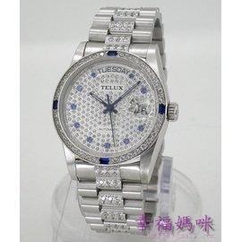 TELUX 鐵力士 蠔式 水晶鑽 瑞士ETA機芯,自動手動上鍊機械錶~銀