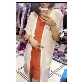 2015 春夏紐扣短袖中長款外套披肩棉麻料口袋純色開衫女潮