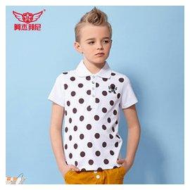 阿傑邦尼 男童中大童短袖T恤夏裝純棉翻領波爾卡圓點兒童polo衫