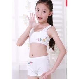 ~ 喔~女童發育期文胸兒童內衣純棉小背心學生內褲大童胸罩女孩少女套裝