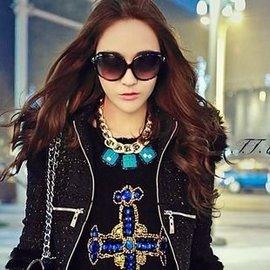 菁菁秀 韓國 假領子項鏈 藍寶石短鏈 風水晶女士