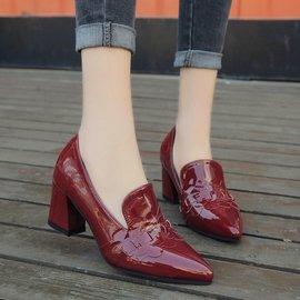 新品 新品 2017早春 漆皮英倫氣質尖頭深口百搭酒紅色高跟鞋單鞋粗跟女鞋高跟鞋- -新品