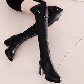 今日 n春秋 女士粗跟過膝長靴高筒靴 彈力布靴皮靴中跟女靴子可