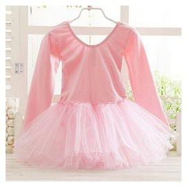 女童舞蹈服裝練功服芭蕾舞裙演出服兒童長袖紗裙連體裙蓬蓬裙