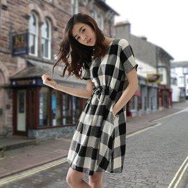 2014夏裝  氣質寬松大碼短袖復古黑白格子棉麻 女連衣裙夏