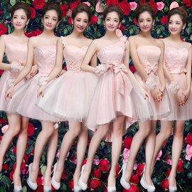 伴娘服伴娘禮服媽媽禮服伴娘小禮服禮服 春夏姐妹團連衣裙短款 粉色生日宴會小禮服短款