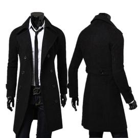 青年春秋男裝純色大碼雙排扣加長風衣簡約豪華男士毛呢風大衣外套