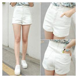 加肥加大碼白色高腰牛仔短褲女褲子 胖MM 寬松顯瘦 潮女夏
