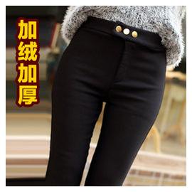 秋鼕 加絨加厚打底褲女大碼外穿彈力小腳褲顯瘦高腰鉛筆長褲子