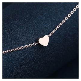 包郵 氣質 鍍18K玫瑰金項鏈女小愛心彩金鎖骨鏈短鏈