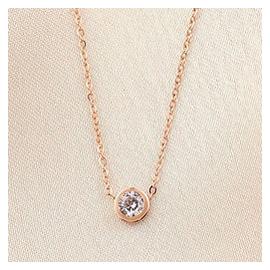 包郵 尹恩惠李小璐同款鍍18K玫瑰金單鑽項鏈女短款彩金鎖骨鏈