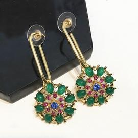 韓國氣質百搭彩色水晶花朵長款耳環耳墜 耳釘女日韓 耳環飾