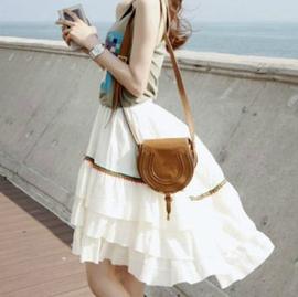 韓國 夏裝 女裝夏復古民族風大擺裙不規則蛋糕半身裙套裝