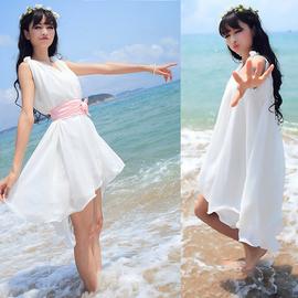 連衣裙繫腰帶寬松修身弔帶無袖背心襯裙 圓領荷葉邊雪紡裙