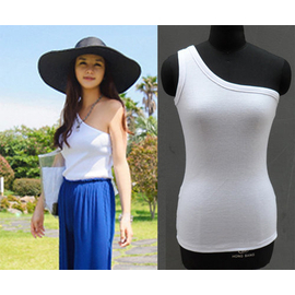 2013女夏韓國不起球百搭性感修身弔帶斜肩露背背心內搭外穿打底衫