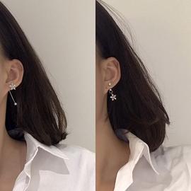 日韓國氣質簡約 甜美不對稱鑲鑽花朵珍珠耳釘耳環耳飾品女