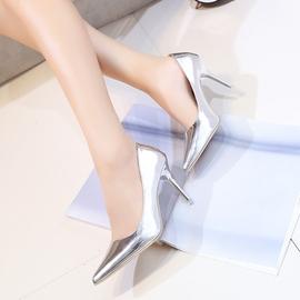 2016 尖頭高跟鞋女秋細跟淺口性感銀色漆皮氣質工作鞋女士單鞋