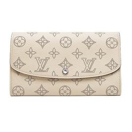 Louis Vuitton LV M60177 花紋打孔全皮革壓紋扣式長夾.象牙白